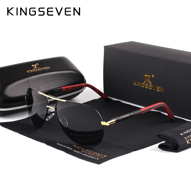 56e723a819 KINGSEVEN hombres Vintage de aluminio polarizado gafas de sol de marca  clásica gafas de sol lente