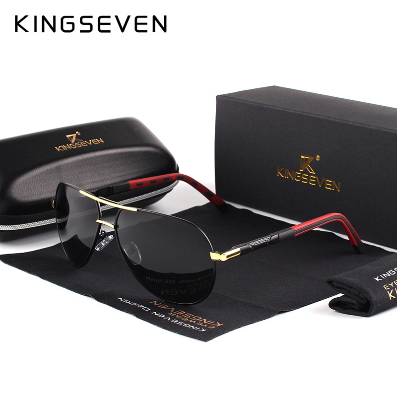 Kingseven men vintage alumínio polarizado óculos de sol marca clássica óculos de revestimento lente de condução eyewear para homem/mulher