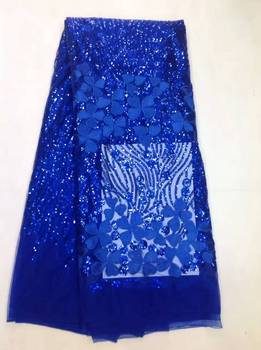 2017 Upscale French Net Blue/Black Sequins Lace High Quality African Tulle Lace Fabric Sequins Wedding Nigeria lace K-L10582