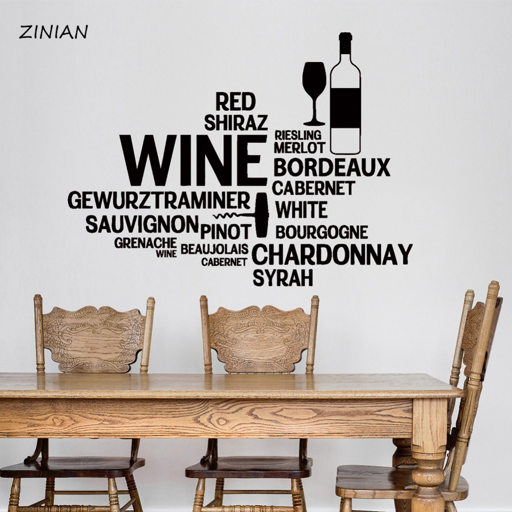Wine Bar Bottle Glass Restaurant Words Wall Stickers Home Interior Ornament Living Room Dining Room Kitchen Waterproof Z127 Words Wall Stickers Wall Stickerhome Interior Aliexpress