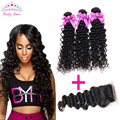 Brazilian Deep Wave With Closure Cheap human hair  Brazilian Virgin Hair With Closure Brazilian Deep Curly With Closure