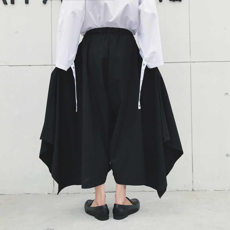 Япония Кимоно Стиль мужские повседневные брюки O мода юбка брюки мужской свободный гаремный с широкими штанинами женские укороченные брюки больших размеров Брюки