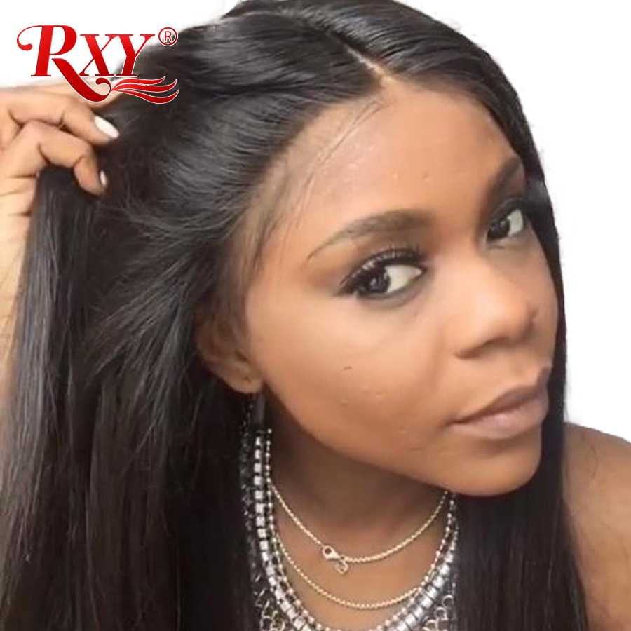 RXY 360 Lace Wig Frontal Pré Arrancou Com o Cabelo Do Bebê Rendas Frente Em Linha Reta Perucas de Cabelo Humano Para As Mulheres Negras Remy cabelo Peruca Dianteira do Laço