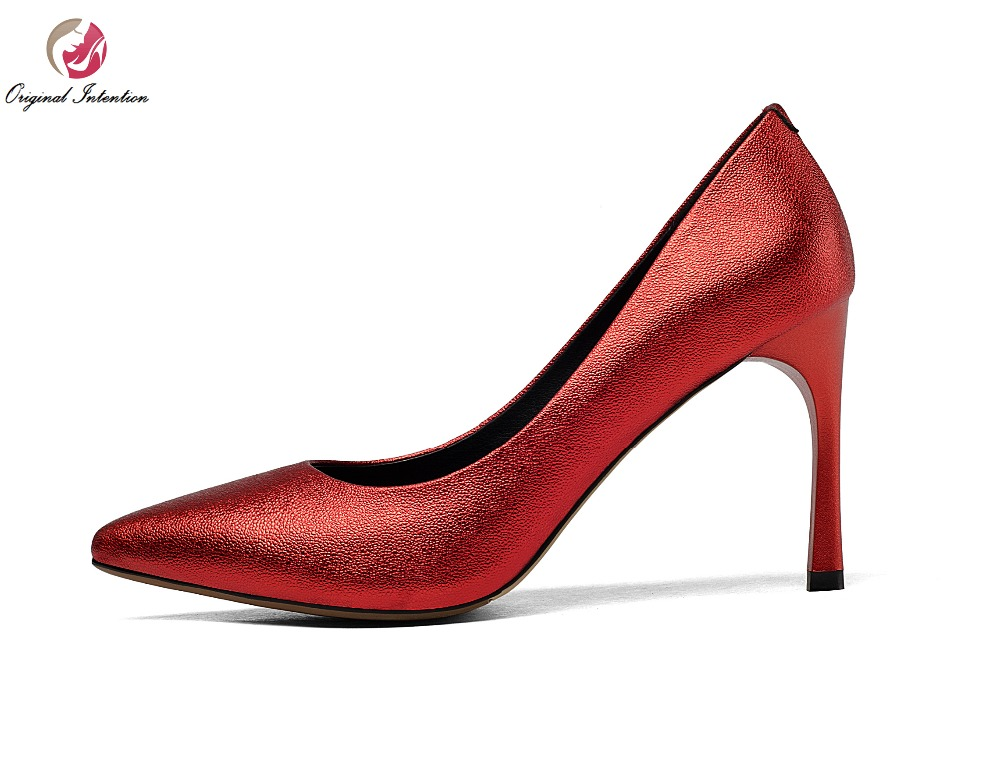 ФОТО New Popular Women Pumps Genuine Leather Sexy Pointed Toe Thin Heels Pumps Fashion Black Wine Red Shoes Woman US Size 4-8.5