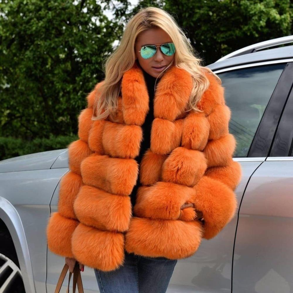 Высококачественная натуральная лиса меховая куртка с воротником-стойкой для женщин зима новое поступление теплые пальто с мехом натуральн...