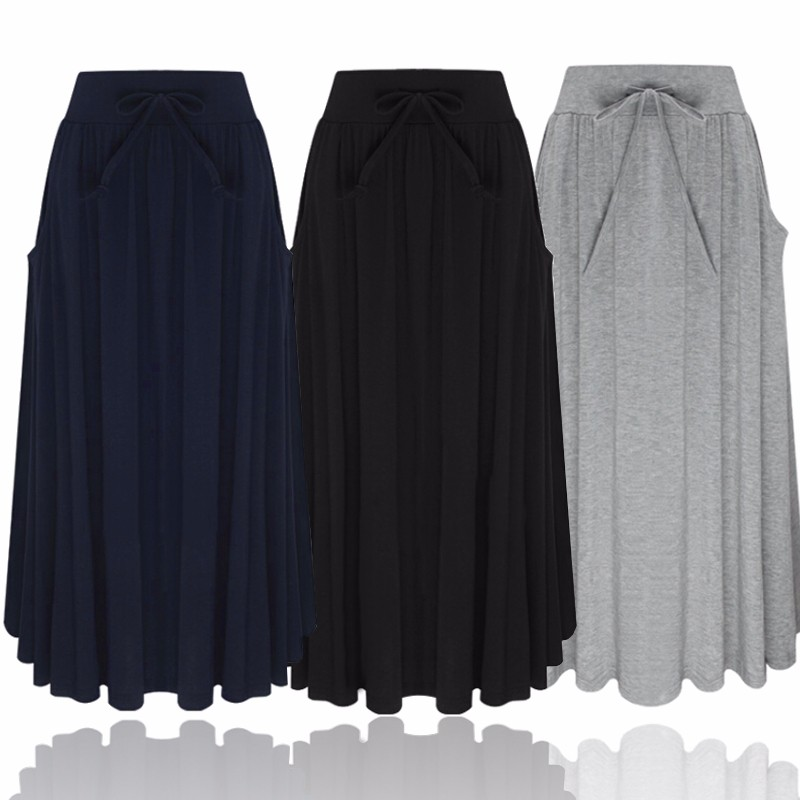 Elegant Long Skirt 2017 Autumn Women Elastic High Waist Pockets Pleated Mid-calf Skirt Female Solid Color Casual Skirt Plus Size