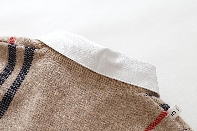 HTB1rBZ.XVzsK1Rjy1Xbq6xOaFXac - 2018 Autumn Boys Sweater Plaid Children Knitwear Boys Cotton Pullover Dual Collar Sweater Kids Fashion Outerwear Toddler