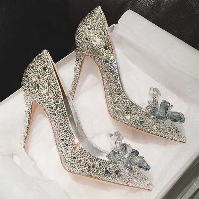 Fashion Week Celebrity Top Grade Cinderella Crystal Shoes Bridal Rhinestone  Wedding Shoes With Flower woman thin aad4450b5a46