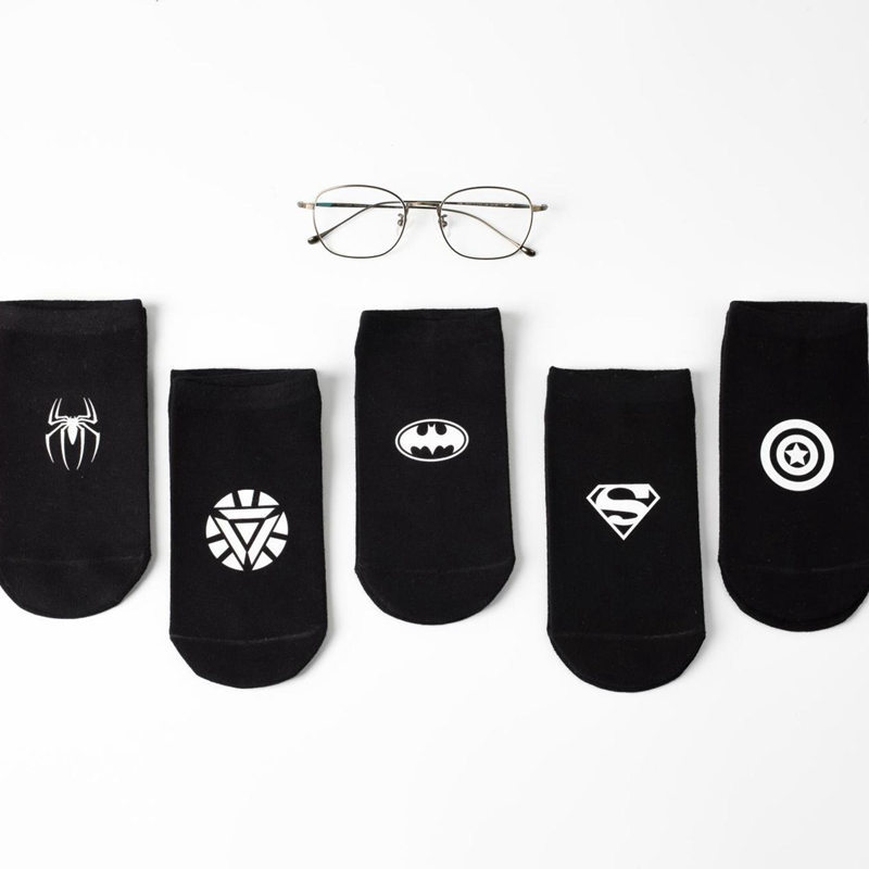 5 Pairs/lot Unisex Ankle   Socks   3D Printed Batman Superman hero Black Cotton   Socks   Funny   Socks