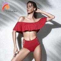 Andzhelika Push Up Bikini Women Swimsuit Ruffle Ruched Bandeau Vintage Bikinis Set High Waist Swimwear Bathing