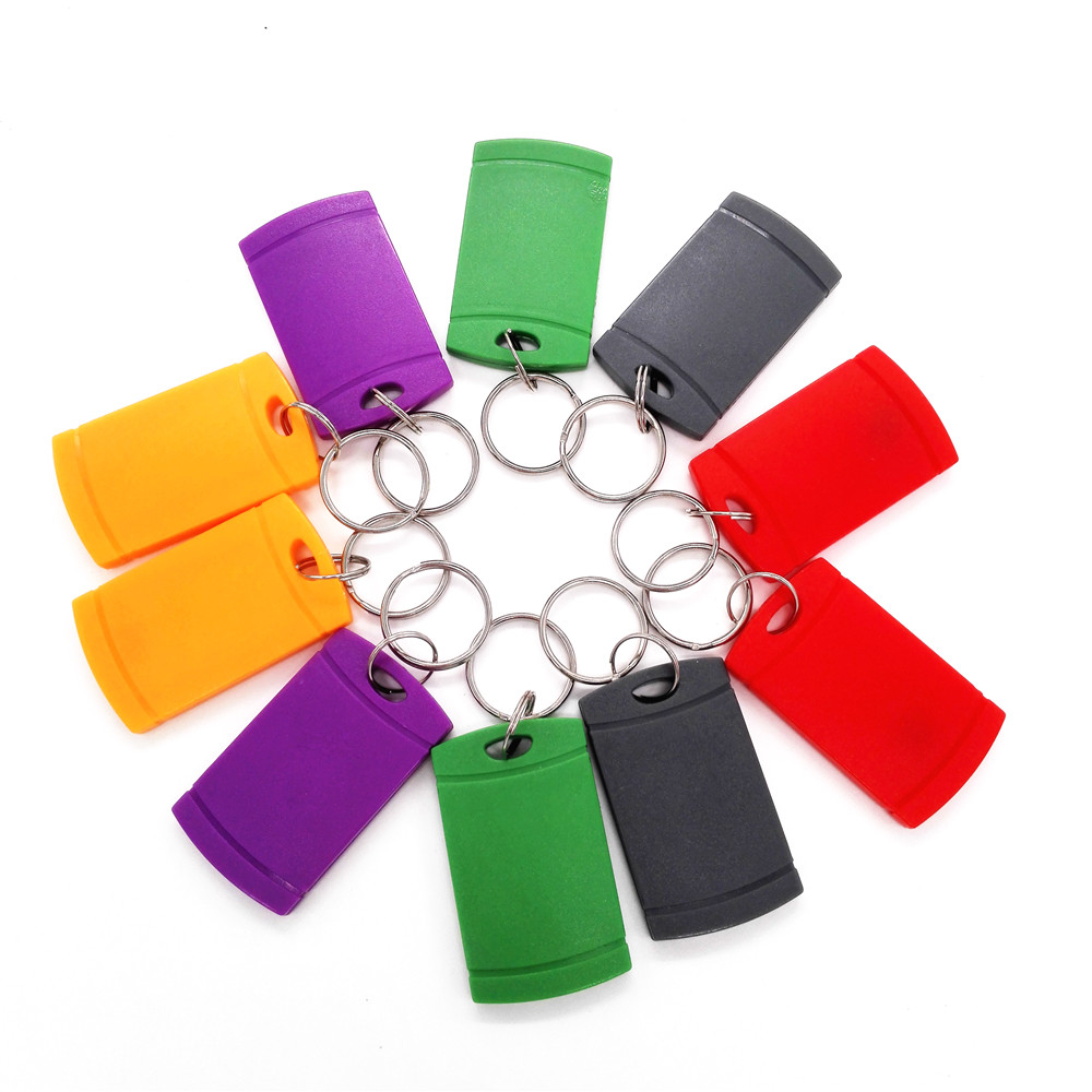 10pcs/lot Multicolor UID Blank Key Chain Elevator Parking Entrance Guard Access Control IC Card 13.56MHZ Key Tag