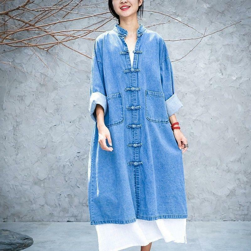 Women Long Coat Chinese Style Loose Stand Collar Cardigan Retro Overcoat   Trench   Coats J9