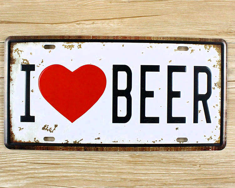 metal tin signs i love beer wall art craft iron retro metal painting tin signs 15x30cm plaques. Black Bedroom Furniture Sets. Home Design Ideas