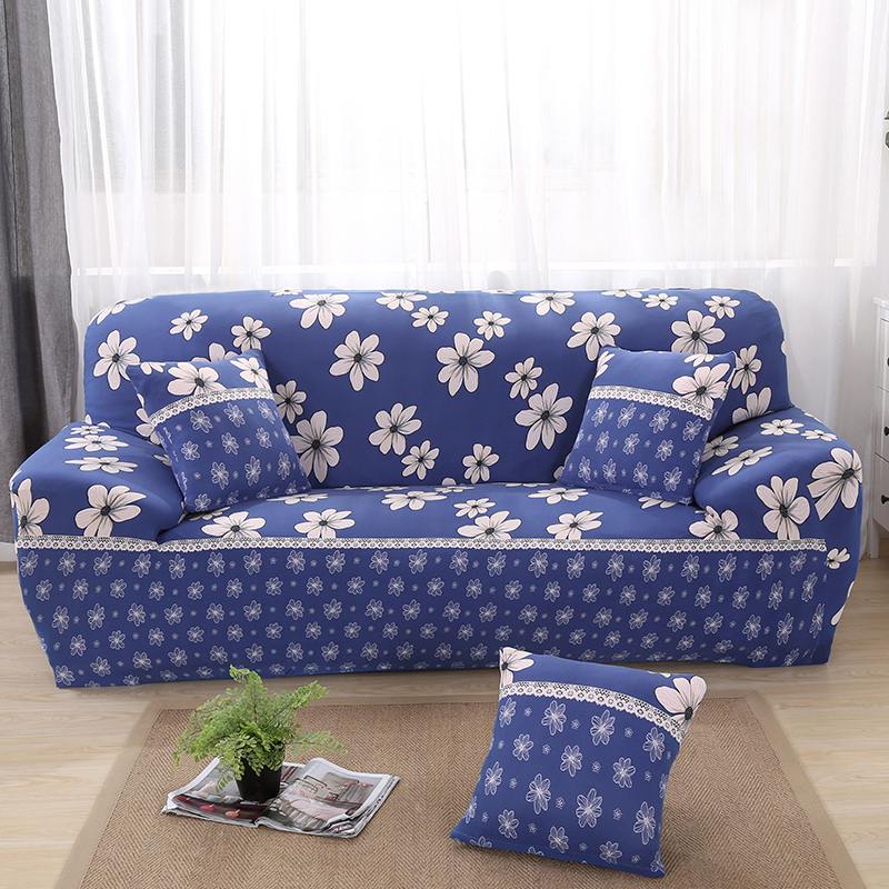 Sofa Seat Cover Suit White Floral Print Sofa Cover with Blue Background A Clean Home Environment Makes Your Eyes Shine 2018 New