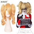 Hot Sale Batman Harley Quinn Short Curly Golden Blonde Party Heat Resistance Cheap Synthetic Hair Cosplay Wigs