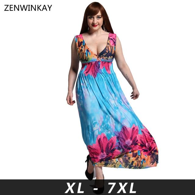 2017 Summer Women Dress Plus Size 6L Long Vestido Femme Income Maxi ...