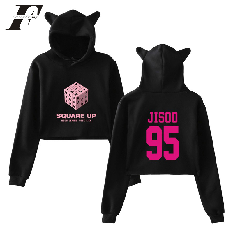 Women's Clothing Reliable Luckyfridayf 2018 Blackpink Girls Hot Cat Ears Cap Short Sexy Hoodies Ladies Women Sexy Exposed Navel K-pop Pullover Aromatic Flavor