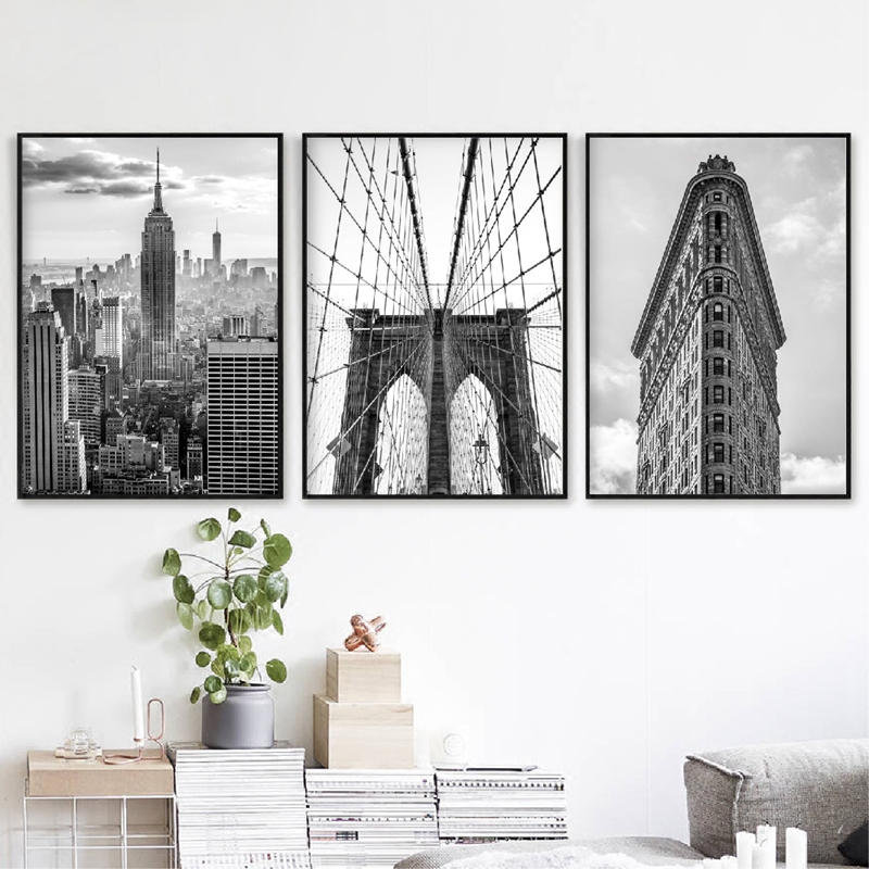 New York City Black White Posters And Prints Brooklyn Bridge & Flat Iron Photos Wall Art Canvas Painting Pictures Home Decor