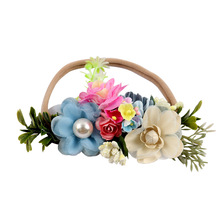 цены Pearl Flower Crown Baby Headbands For Girls Handmade Garland Nylon Soft Elastic Baby Headwear Headband Newborn Hair Accessories