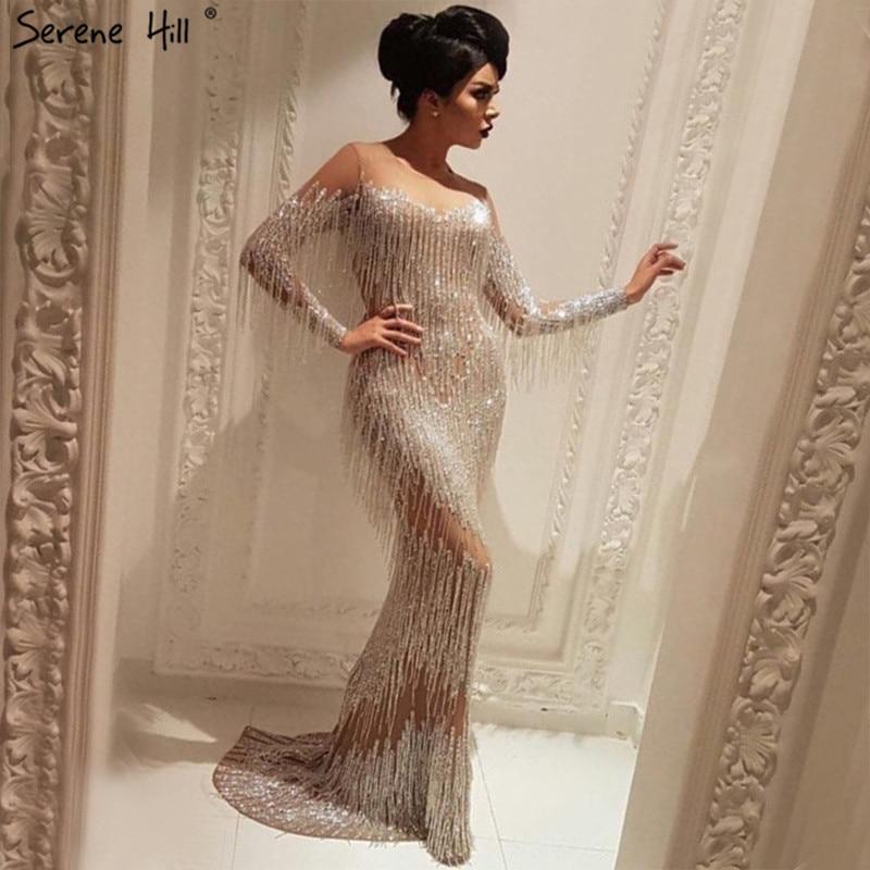 Dubai Champagne Long Sleeve Sexy Evening Dresses 2019 Beading Tassel Elegant Mermaid Evening Gowns Serene Hill LA6559