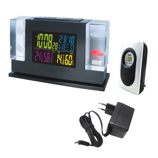Luxury Manmade Crystal Wireless Weather Station Black with ...