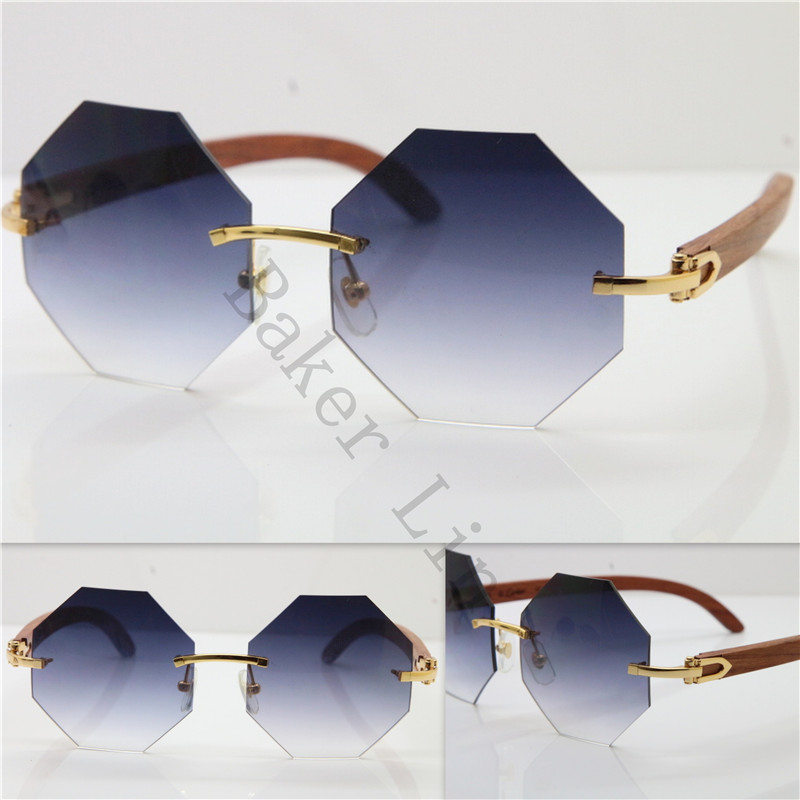 fbc854a3c5c ... Cartier 4189706 Rimless Wood Sunglasses in Gold Brown Lens2 ...