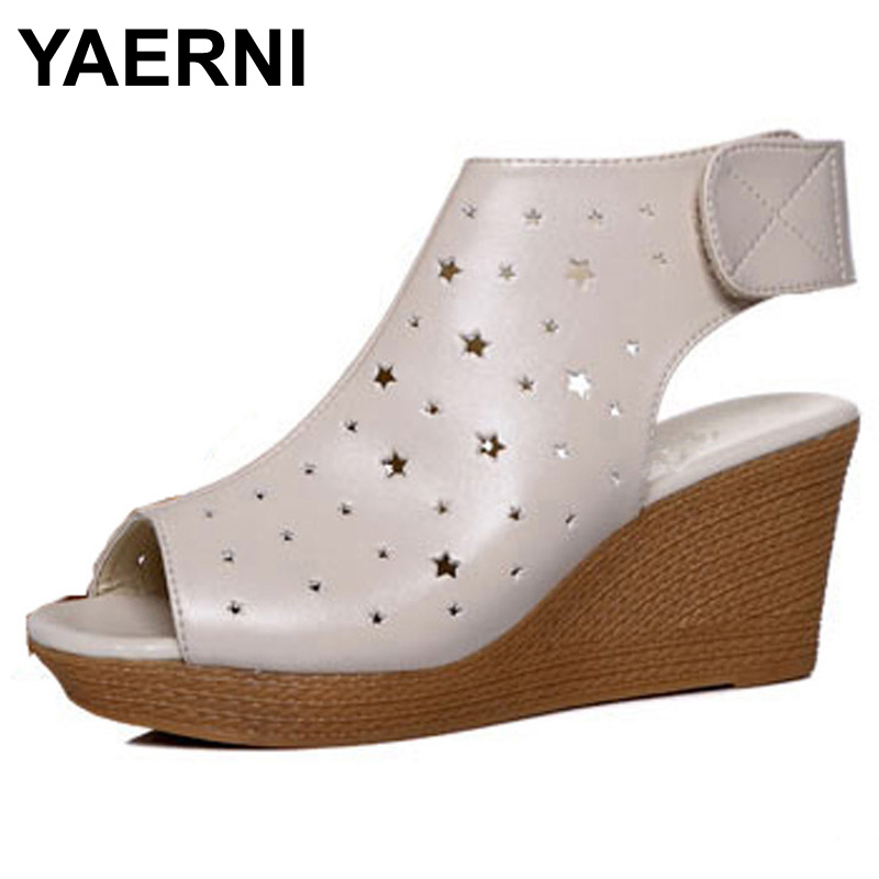 YAERNI Women Gladiator Sandals Wedges Heel Platform Peep-toe Summer Style Shoes For Woman timetang 2017 leather gladiator sandals comfort creepers platform casual shoes woman summer style mother women shoes xwd5583