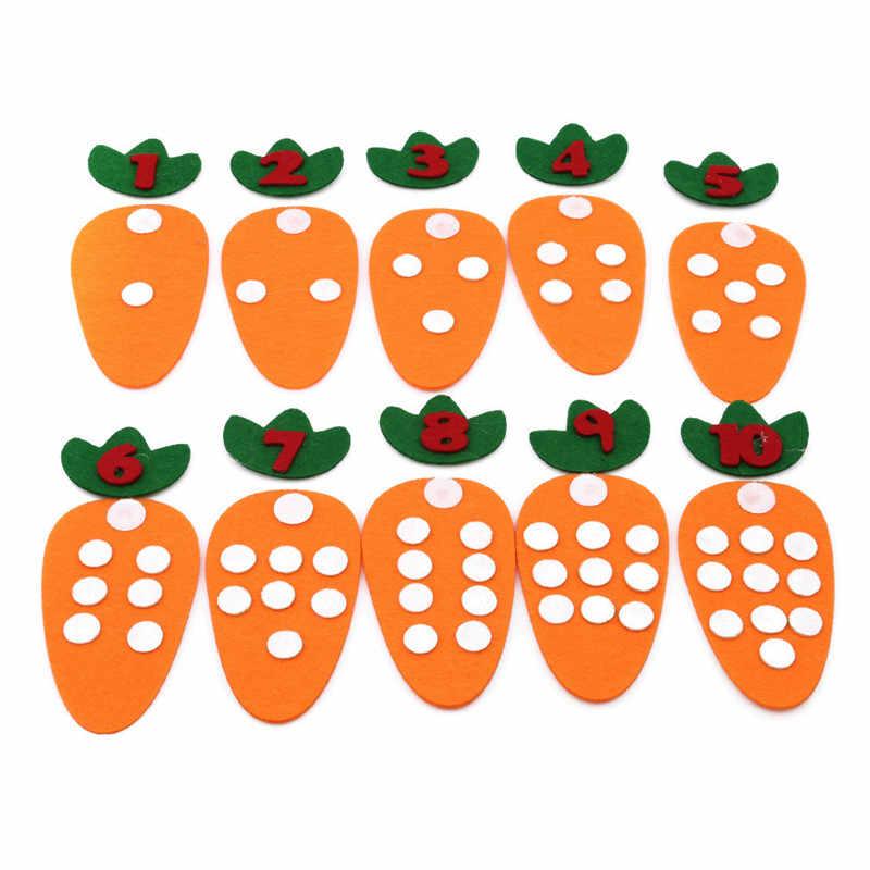 Креативный детский сад морковь цифровая математическая игрушка Нетканая детская ручная работа DIY головоломка игрушки Монтессори Обучающие учебные материалы