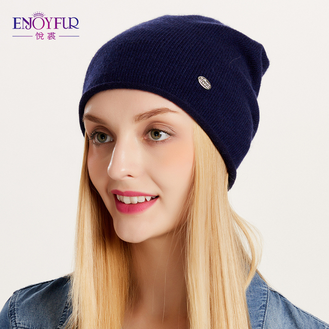 46b4b40d238 ENJOYFUR Spring Autumn hats for women knitted wool beanies hat 2018 new  good quality female hat