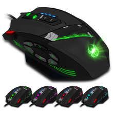 ZELOTES C-12 Wired USB Optical Gaming Mouse 12 Programmable Buttons Computer Game Mice 4 Adjustable DPI 7 LED Lights for Gamer