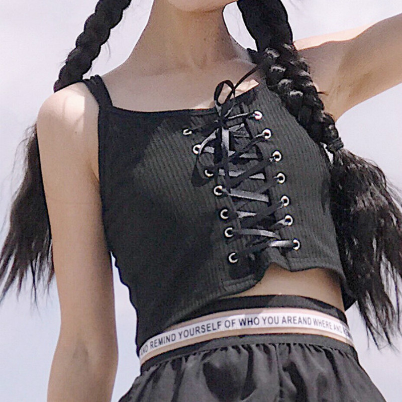 Women Punk Lace Up Tie Strappy Camisole   Tank     Top   Vest Knitted Cotton Blend Lolita Punk Spaghetti Campus Style New Crop   Tops