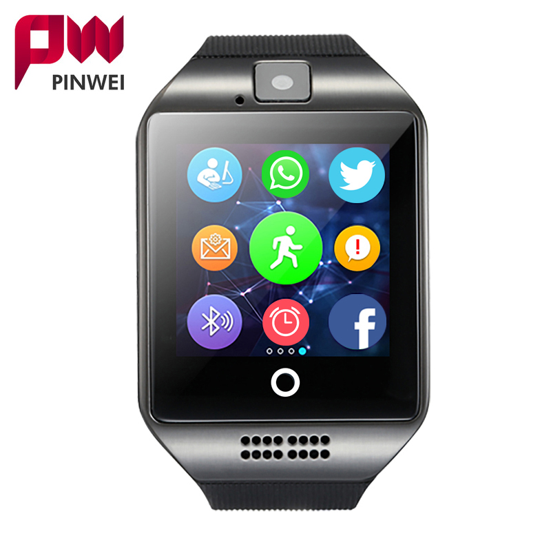 PINWEI Bluetooth Smart Watch Q18 With Camera Facebook Whatsapp Sync SMS MP3 Smartwatch Support SIM TF Card For IOS Android Phone haas
