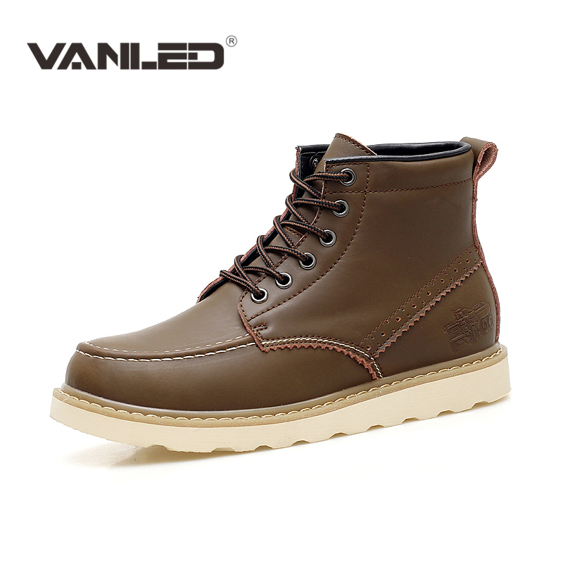 ФОТО 2017 winter Genuine leather Men Boots Casual work outdoor Ankle martin Boots Retro warm Snow shoes lace up leather footwear