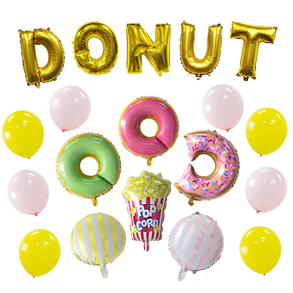 Donut Themed Party Decorations Doughnut  Growup Foil Latex Balloons Baby Shower Birthday Decor Supplies