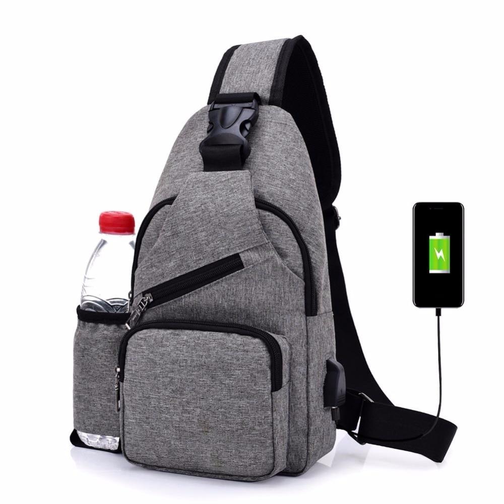 Унисекс Внешний USB зарядки груди Сумки мужской Для мужчин грудь талия обновления противоугонные путешествия Сумки через плечо для Для мужч…