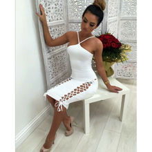 Summer Dresses 2019 New Women Sexy Bandage Skinny Sleeveless Irregular Collar Backless Strap Dress