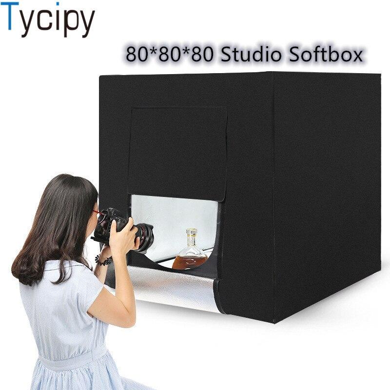 Tycipy Photo Studio Softbox 80*80 LED boîte à lumière pliante 60 W 5500 K lumière blanche photographie toile de fond kit de tente de tir avec cadeau