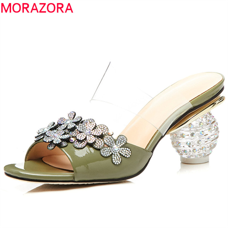 MORAZORA 2018 fashion summer new shoes woman peep toe shallow elegant sandals women genuine leather shoes high heels morazora 2018 new women sandals summer sweet bowknot comfortable buckle spike high heels platform shoes peep toe shoes woman