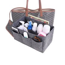 HHYUKIMI Felt Makeup Organizer For Handbag Insert Bag Purse Tote Storage bag,Cosmetic Toiletry Bags Fits in Speedy Neverfull