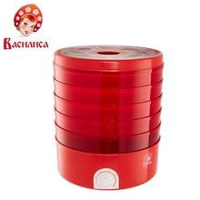 ВАСИЛИСА СО3-520 Сушилка электрическая для овощей и фруктов красная с красными секциями, 520 Вт, Регулировка температуры 30-70°С, 5 съемных секций, Вентилятор для равномерной сушки овощей и фруктов