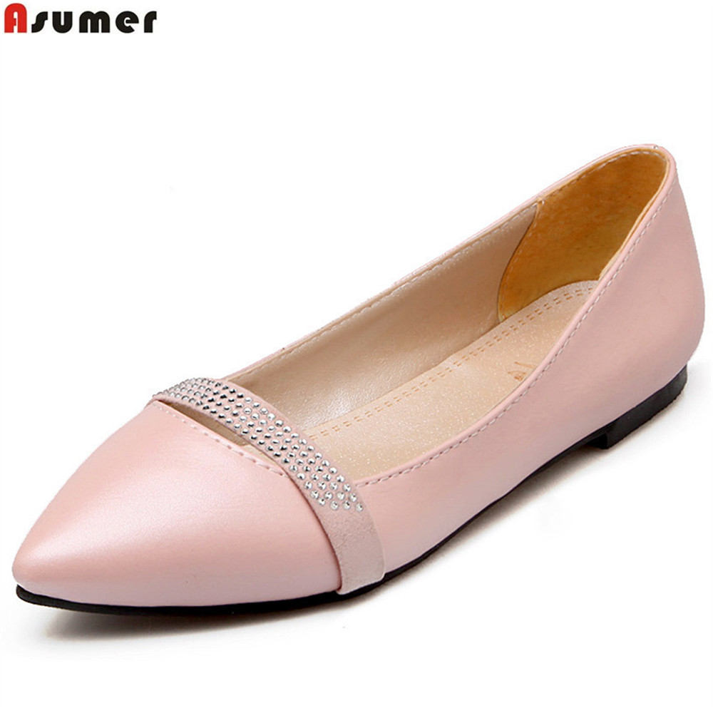 ASUMER black pink pointed toe casual spring autumn ladies single shoes crystal shallow women flats plus size 33-46 red spring autumn women s low heel pumps flock plain pointed toe shallow slip on ladies casual single shoes zapatos mujer black