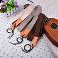 Ukulele Part Cotton And Linen Ukulele Straps With 1 Set of Buckles Soft Leather End Double Reinforcement Anti-pull And Durable