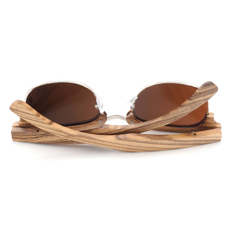 Semi Enclosure Design Unisex Zebra Stripe Wood Sunglass