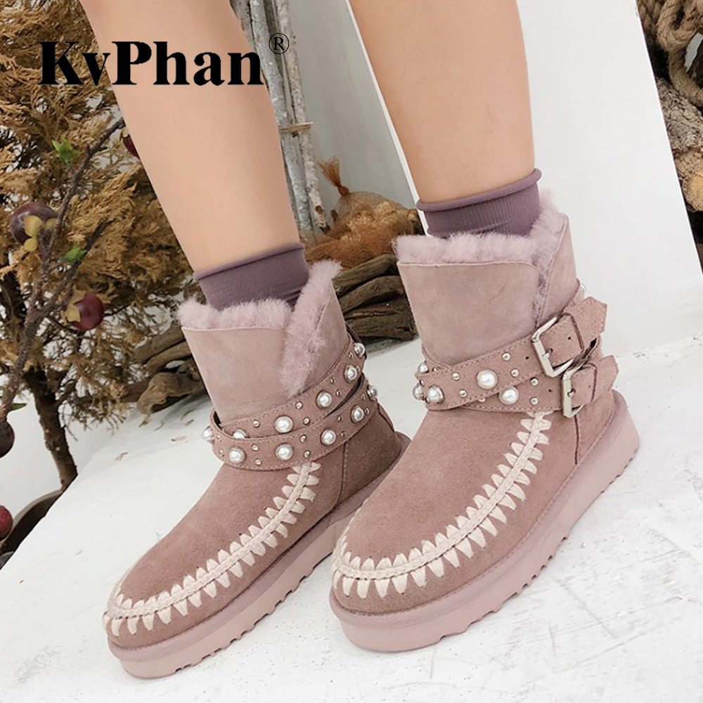 Snow Shoes Woman KvPhan 2018 Fashion Nature Real Sheepskin Leather Fur Lined Girls Short Ankle Snow Boots for Women Winter Shoes
