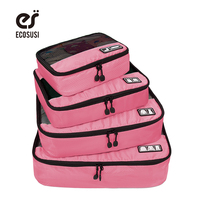 4 Pcs Set Waterproof Clothes Storage Bags Packing Cube Travel Luggage Organizer Cosmetic Makeup Toiletry Case