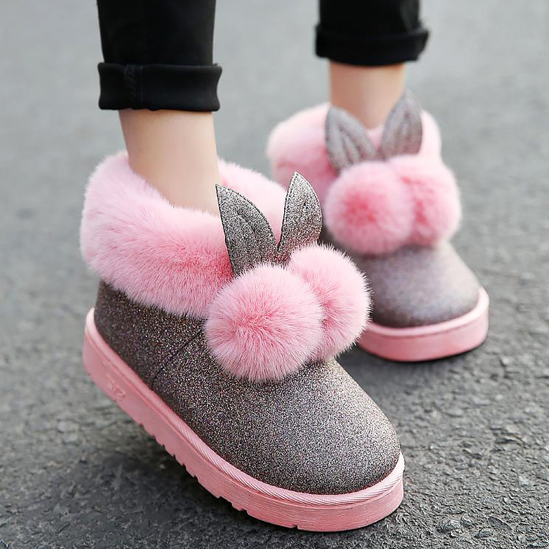 Women lovely rabbit ears soft home boots cotton warm women winter boots 2018 new fashion winter ankle boots women bjd doll boots two wear rabbit ears cut short boots in stock page sd13