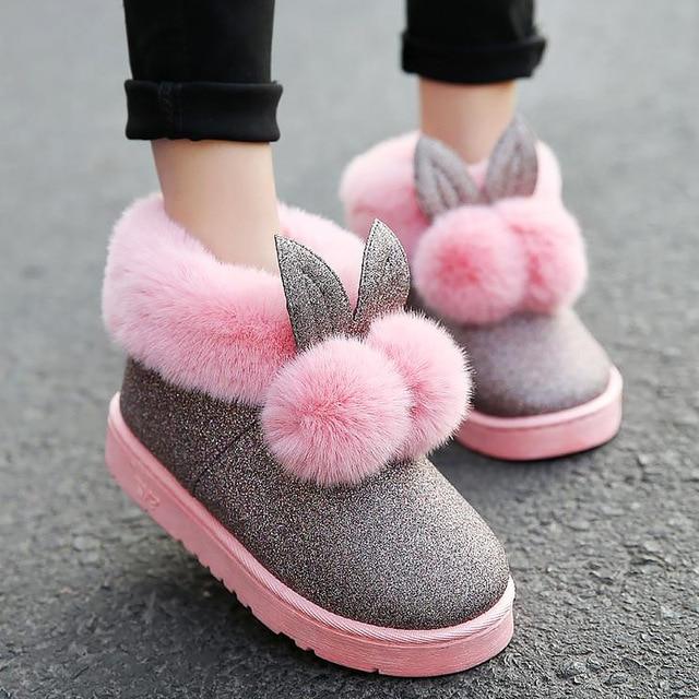 Women lovely rabbit ears soft home boots cotton warm women winter boots 2018 new fashion winter ankle boots women