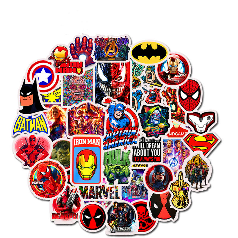 50PCS Superhero Computer Stickers Waterproof Laptop Skin Vinyl Deco Sticker Skateboard Suitcase for MacBook Lenovo Notebook Skin-in Laptop Skins from Computer & Office