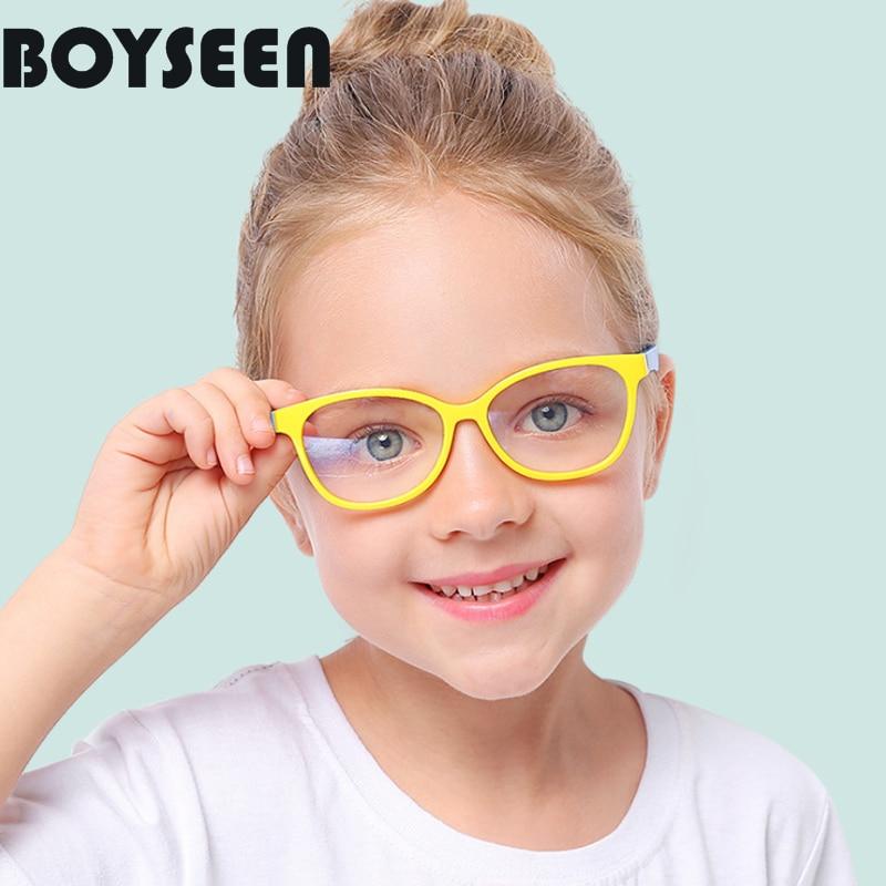 BOYSEEN Children Flexible Glasses Frames Kids Frames Girls Myopia Optical Amblyopia Anti-blue Light Optical Glasses F007