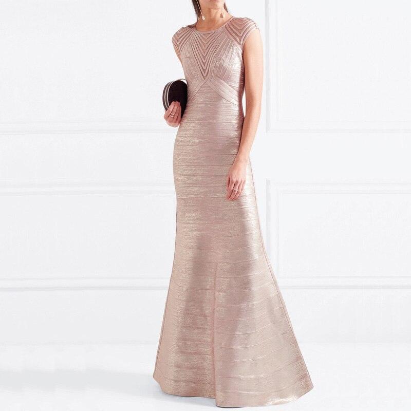 wholesale New dress Golden High end luxury Fashion elegance Tight celebrity party bandage long dress H2277